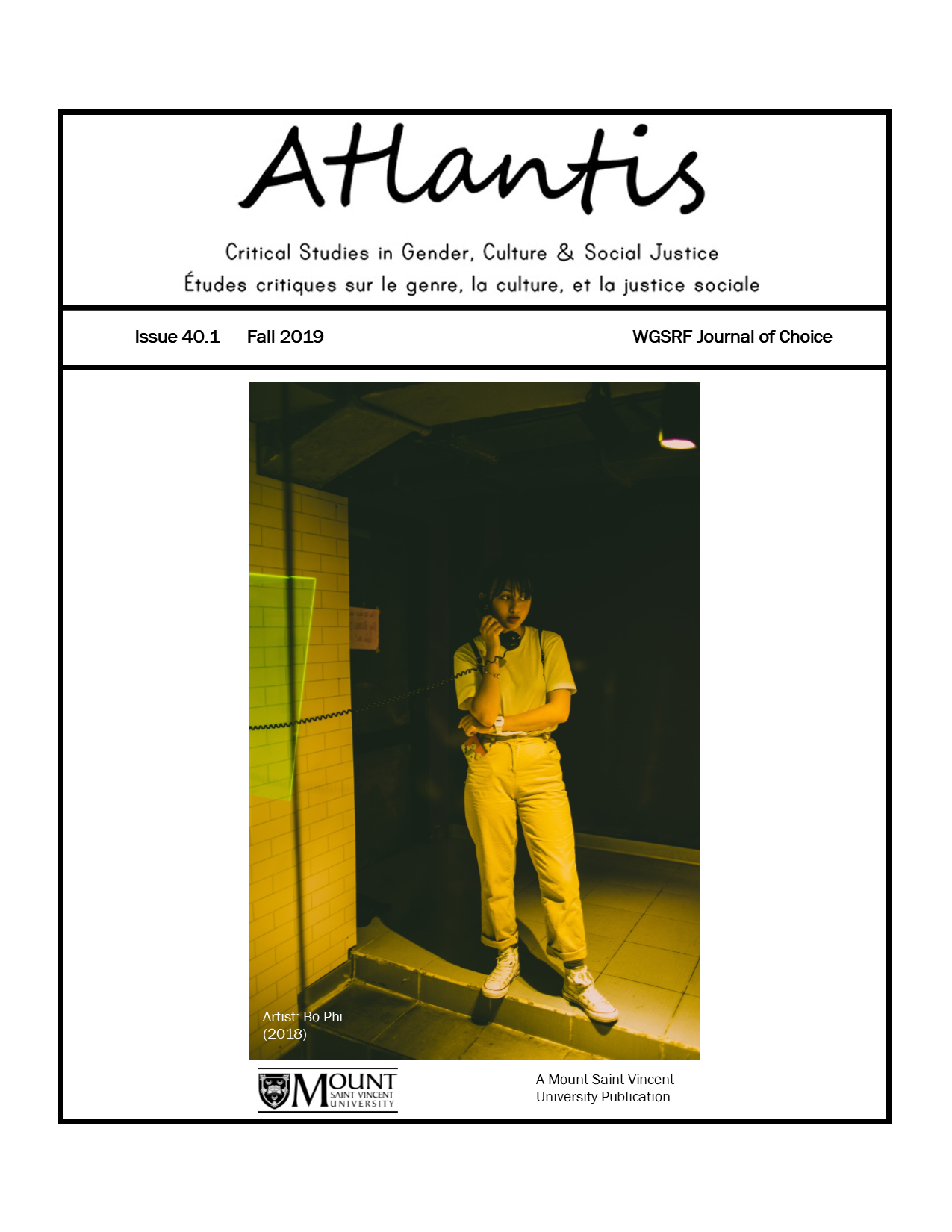 Atlantis: Critical Studies in Gender, Culture & Social Justice. (Cover image shows a woman speaking on a pay phone in darkness.)